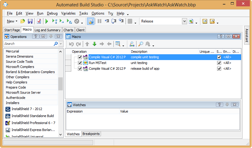 Integrating Visual Studio unit testing with release management software