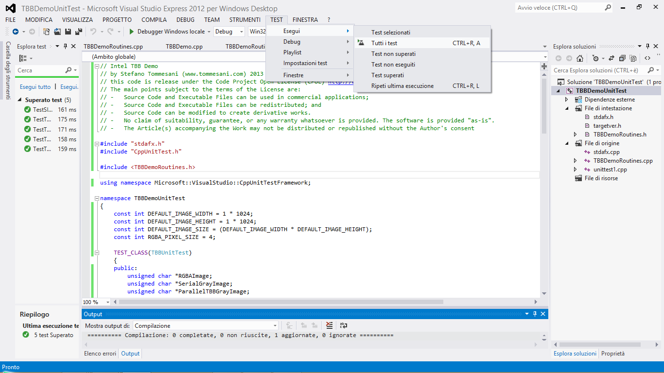 screen shot of unit testing with Microsoft Visual C++ 2012